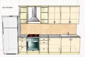 Кухня без полки над холодильником